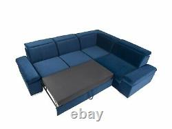 Darby 5 Seater Right Corner Sofa Bed With Storage, Springs, Easy Clean Fabric