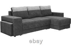 Dark Grey 4 Seater Corner Sofa Bed With Storage, Bonell Springs Sofa, Universal