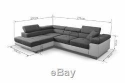 Dark Grey Corner Sofa Bed Relax Storage Fabric Left Right site Modern