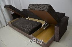 Double Chaise Corner Sofa Bed Dover, Three Bedding Places, Soft Cord Fabric