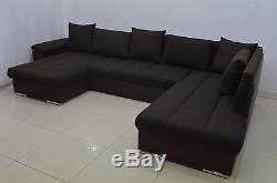 Double Corner Sofa Bed Eric, Large Bedding Place, Silicone Cushions! All Colours