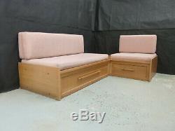 EB742 Oak & Pink Wool Corner Sofa Bed Retro Mid Century Modern Storage