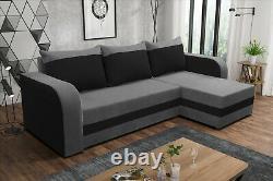 EURO HOMEWARE Corner Sofa Bed''ALEXA'' GREY BLACK RED BROWN
