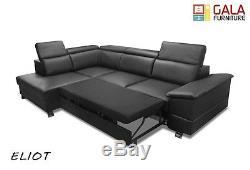 Eliot Finest Italian Real Leather Corner Sofa Bed In Black 280cm X 190cm