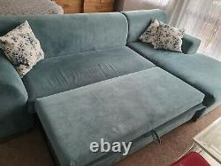 EnzaHome corner L shaped sofa bed with storage pale blue