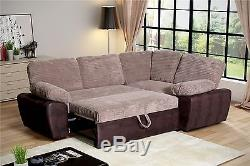 Enzo Cord Faux Leather Corner Storage Double Sofa Bed Coffee