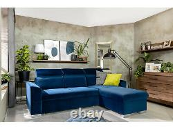 Evia 5 seater corner sofa bed with storage, wave springs, double bed