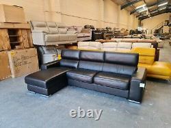 Ex-display Kalamos/Velocity black leather chaise storage corner sofa bed