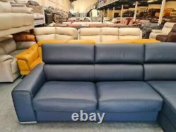 Ex-display Kalamos/Velocity blue leather chaise storage corner sofa bed