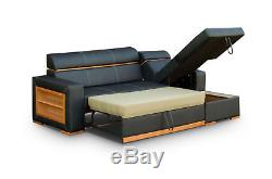 Faux Leather Corner Sofa Bed Becky With Big Storage- From Producent