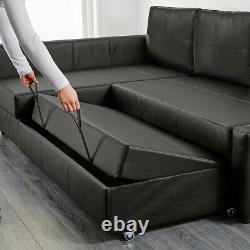 FRIHETEN Corner sofa-bed with huge storage, Bomstad black 4 Seater Black Leather
