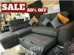 Fabric Corner Sofa Bed Adjustable Headrest Storage Footstool Left Or Right