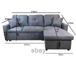 Fabric Corner Sofa Bed with Storage & Reversible Chaise Grey