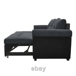 Fabric Leather Corner Sofa Bed L-shaped Recliner Couch with Storage + 3 Cushions