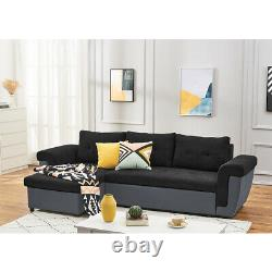Fabric Leather L-Shaped Corner Sofa Bed with Storage & 3 Cushions Recliner Couch