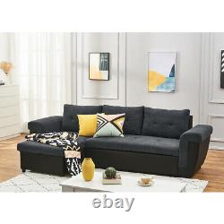 Fabric Leather Universal Corner Sofa Bed with Storage Container Sleep Function