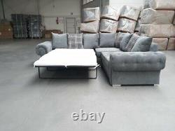 Farnando Verona Double Corner Guest Sofa Bed Chesterfield Mid Grey Fabric Couch