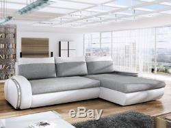 Fast Delivery Corner Sofa Bed with storage DAKO EGO faux leather & fabric