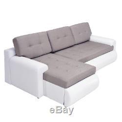 Faux Leather & Fabric Corner Sofa Bed Settee Storage Cushion Black&Grey&White UK