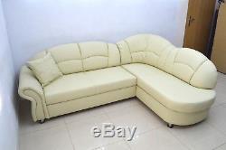 Full 100% Real Leather Corner Sofa Bed''romero'', Cream Genuine Leather