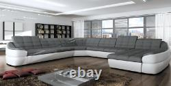 Future XL Corner Sofa With Sleep Function Bed Box Couch Grey White