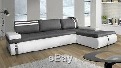 GALIA Corner Sofa Bed Storage Grey Fabric White Faux Leather Right Left site