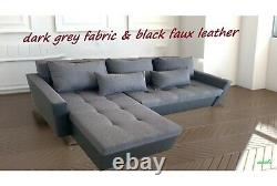 GREY & BLACK L-Shaped Universal Corner Sofa Bed TWO Storage boxes