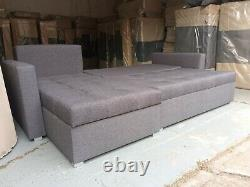 GREY FULL FABRIC L-Shaped Universal Corner Sofa Bed TWO Storage boxes