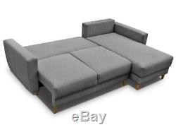 GREY L shape CORNER SOFA BED with STORAGE, SPRUNG SEAT