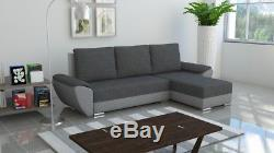 GREY SECTIONAL CORNER SOFA BED. WITH STORAGE. Contemporary design