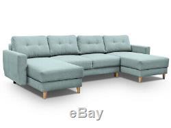 GREYish blue U SHAPE SOFA BED RETRO. WITH STORAGE. SPRUNG SEAT