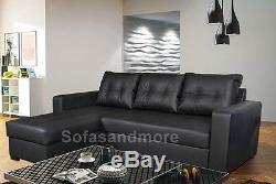 Gianni Corner Sofa Bed Faux Leather in Black, Cream, Brown- Right or Left Corner