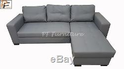 Gianni II Corner Sofa Bed Grey Faux Leather- Brand New