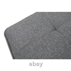 Grey 3 Seater Left & Right Corner Sofa Bed With Footstool Linen Storage Sofa Bed