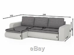 Grey& Black Corner Sofa Bed Brooklyn With Sprung Seat &storage. Free Delivery