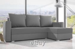 Grey CORNER SOFA BED WITH STORAGE. FABRIC. Corner can switch left or right L SHAPE