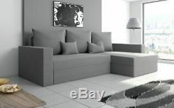 Grey Corner Sofa Bed. Deluxe. Wit Storage And Extra Cushion Gratis