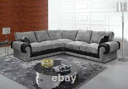 Grey Corner Sofa Bed Jumbo Cord fabric L Shaped Luxury Modern Design Uk 005