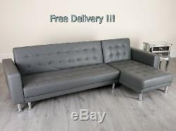 Grey Corner Sofa Bed LUXURY 4 Seater Couch Faux Leather L Shaped Settee Chaise