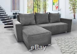 Grey Corner Sofa Bed Sofia With Storage. Quality Fabric
