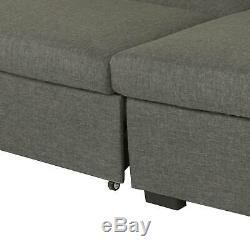 Grey Corner Sofa Bed Storage L Shaped 3 Seater Modern Luxury Design