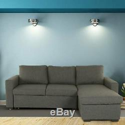 Grey Corner Sofa Bed Storage L Shaped 3 Seater Modern Luxury Design Uk