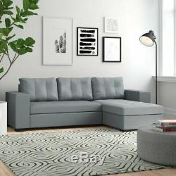Grey Faux Leather Corner Sofa Chaise Ottoman Storage Bed Suite RRP £999