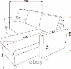 Grey Sofa Bed Corner Fabric Sofa Bed with Storage & Reversible Chaise