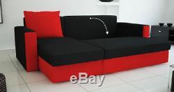 Grey& black CORNER SOFA BED WITH STORAGE. FABRIC. MODULAR, L SHAPE