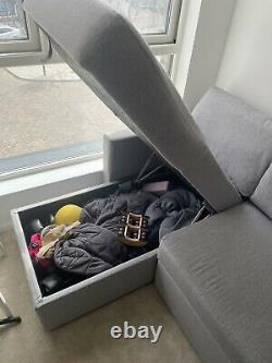 Habitat Reagan Left Corner Fabric Storage Sofa Bed Grey
