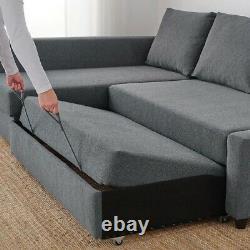 IKEA FRIHETEN Corner sofa-bed with storage, Hyllie dark grey