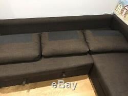 IKEA FRIHETEN Corner sofa bed with storage Skiftebo Dark brown Chocolate