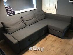 IKEA FRIHETEN SKIFTEBO Dark Grey Corner Sofa Bed with Storage