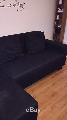 IKEA LUGNVIK Corner Sofa-bed with storage BLACK